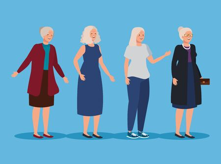 set of old women with casual clothes and hairstyleo over blue background, vector illustration  イラスト・ベクター素材