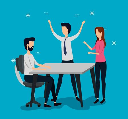 businessmen and businesswoman teamwork with desk and chair over blue background, vector illustration Zdjęcie Seryjne - 134559127