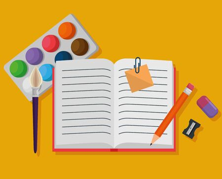 notebook with watercolor and pencil with eraser and sharpener to back to school vector illustration Ilustração