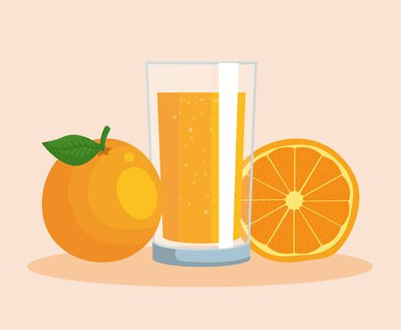 orange fruit and juice organic nutrition to healthy food vector illustration