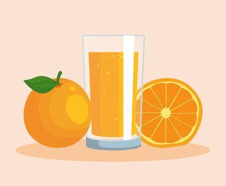 orange fruit and juice organic nutrition to healthy food vector illustration Standard-Bild - 134559188