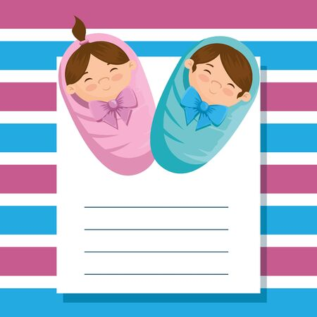 letter with beautiful girl and boy babies over lines background vector illustration