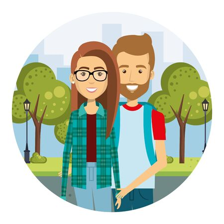 young couple in the street urban style vector illustration design Standard-Bild - 134572852