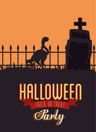 poster of party halloween with cat black and tombstone vector illustration design Ilustração