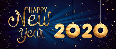 poster of happy new year 2020 vector illustration design  イラスト・ベクター素材