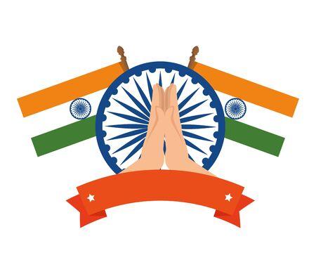 ashoka chakra with flags indian emblem vector illustration design