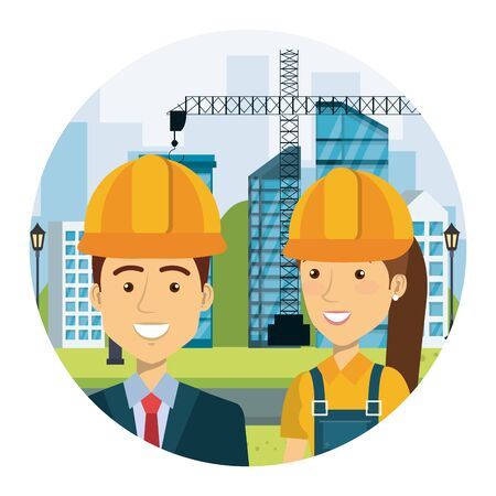 engineer with female builder on workside characters vector illustration design