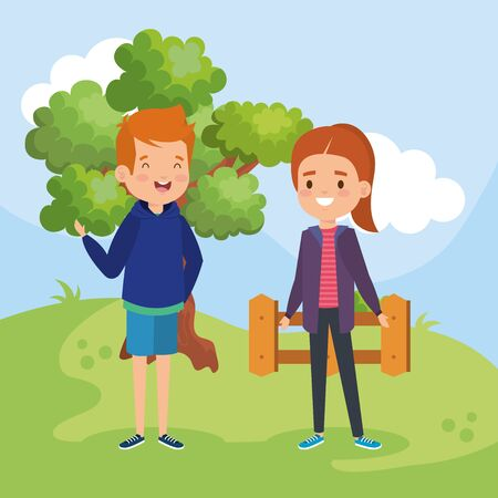 happy boy and girl children with hairstyle in the landscape with tree and wood grillage vector illustration