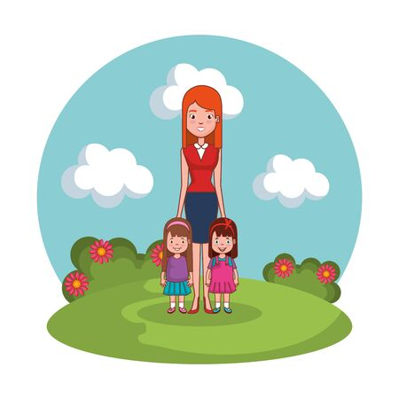 mother with daughters family in the landscape vector illustration design