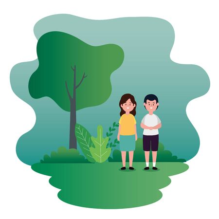 girl and boy children with casual clothes and tree with plants, vector illustration Çizim
