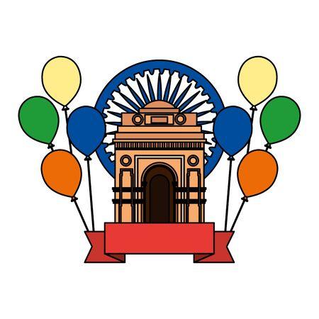 ashoka chakra with indian gate and balloons helium vector illustration design 일러스트