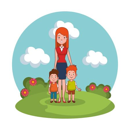 mother with sons family in the landscape vector illustration design