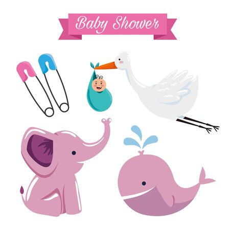 set of baby shower sweet decoration to special celebration vector illustration