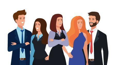 gruppo di uomini d'affari avatar carattere illustrazione vettoriale design Vettoriali