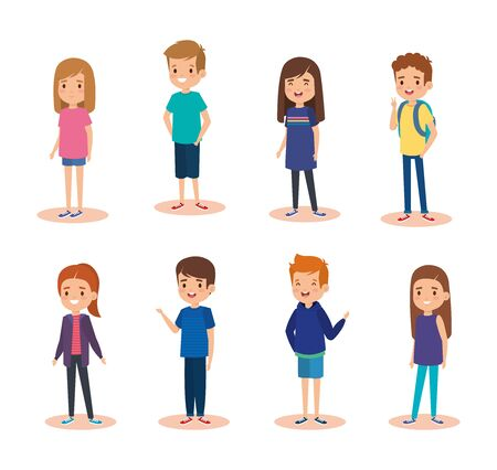 set of nice girls and boys children with casual clothes over white background vector illustration