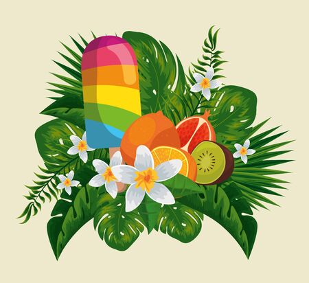 ice lolly with exotic fruits in the flowers and leaves vector illustration