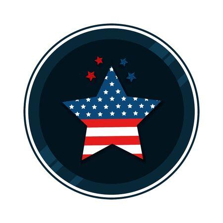 Drapeau des États-Unis dans la conception d'illustration vectorielle en forme d'étoile