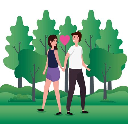 cute lovers couple on the park characters vector illustration design Фото со стока - 134579767