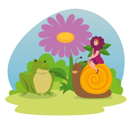 girl flower fairy sitting in the snail with frog and flower to tale character, vector illustration