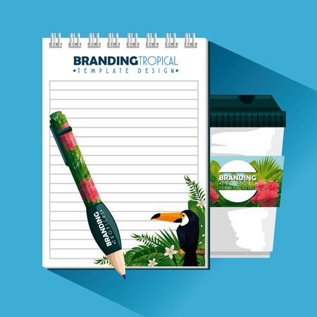 tropical design with notebook and plastic coffee cup vector illustration Ilustracja