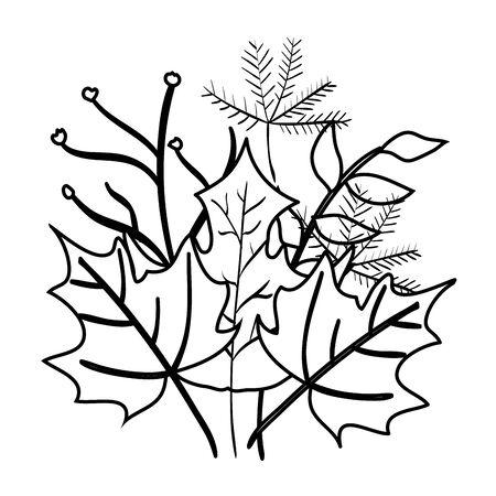 Herbstzweig und trockenes Ahornblattdekorationsvektorillustrationsdesign
