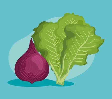 fresh onion and lettuce vegetables nutrition over blue background, vector illustration