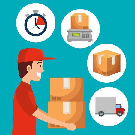 livreur avec des colis de boîtes et un chronomètre avec illustration vectorielle de transport par camion