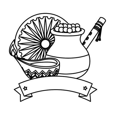 pot en céramique indien avec de la nourriture et des icônes décoratives vector illustration design