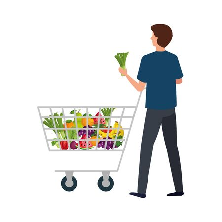 buyer man design, shop store market shopping commerce retail buy and paying theme Vector illustration