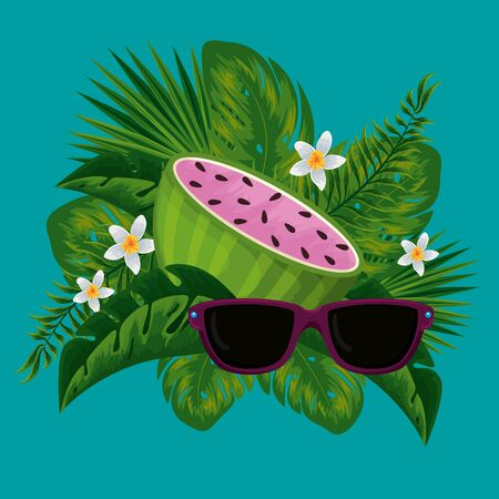 watermelon fruit with sunglasses in the exotic leaves and flowers vector illustration