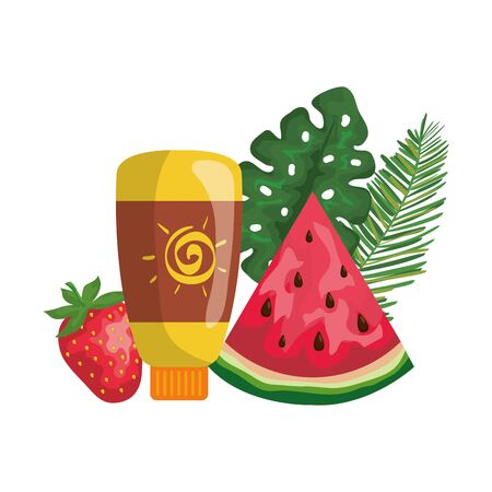 sun blocker bottle with strawberry and watermelon vector illustration design