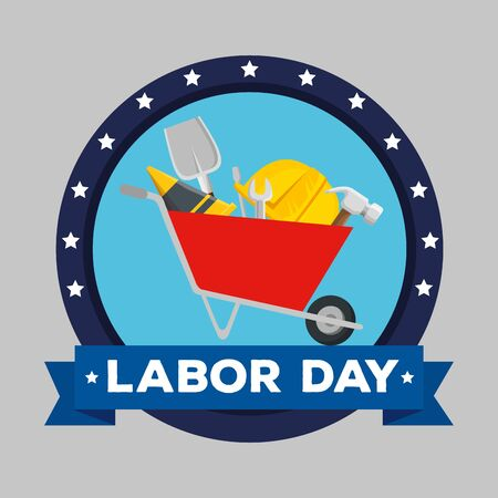 label of wheelbarrow with shovel and cone with helmet to labor day, vector illustration