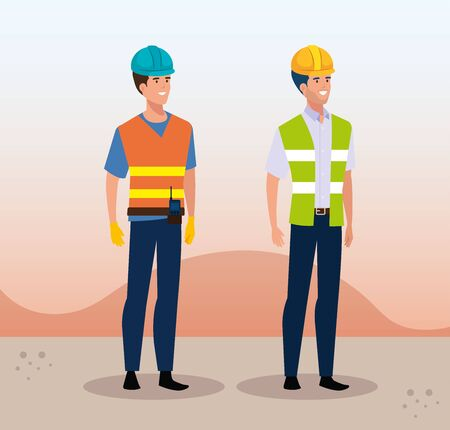 engineer men group with helmet secure vector illustration design