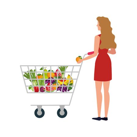 buyer woman design, shop store market shopping commerce retail buy and paying theme Vector illustration