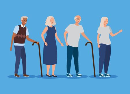 set of old women and men with walking stick over blue background, vector illustration