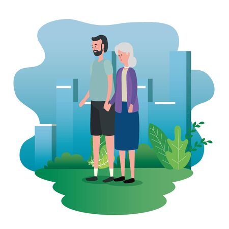 old woman and man couple with bushes plants to family together, vector illustration