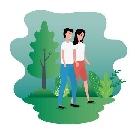 woman and man couple with casual clothes and tree with plants, vector illustration