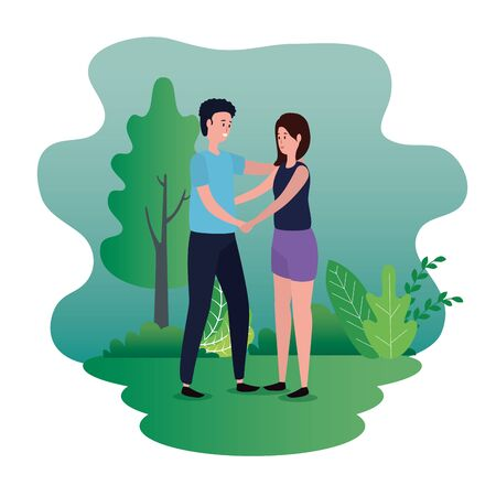 woman and man in love couple with casual clothes and tree with bushes plants, vector illustration Çizim