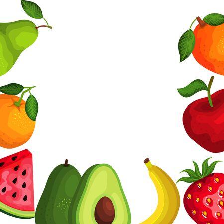 group of fresh fruits nature frame vector illustration design Illustration
