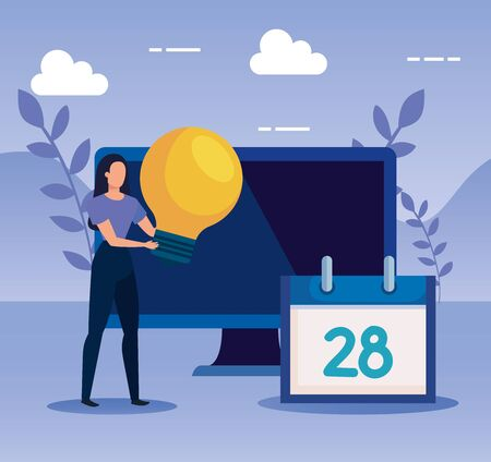 woman with bulb idea and computer technology with calendar to business strategy, vector illustration