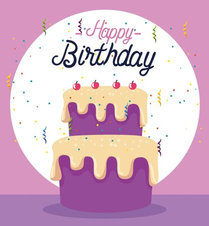 sweet cake with cherrys and decoration event to happy birthday, vector illustration