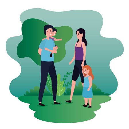woman and man couple with their daughter and son to family together, vector illustration Çizim