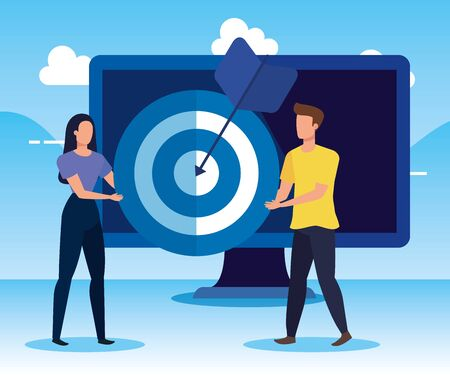 woman and man teamwork with computer and target to business strategy, vector illustration