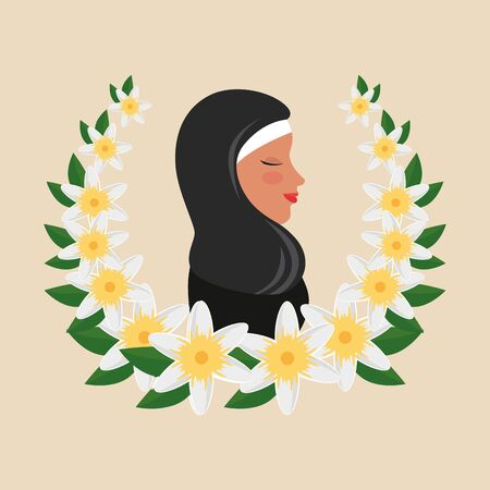 profile of islamic woman with traditional burka in floral wreath vector illustration
