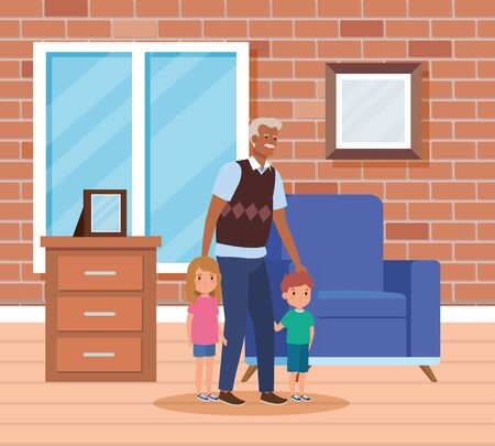 cute grandfather with his granddaughter and grandson with hairstyle in the home, vector illustration Фото со стока - 134609353