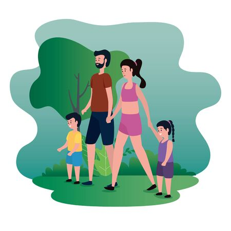 cute woman and man couple with their son and daughter with tree and bushes, vector illustration Çizim
