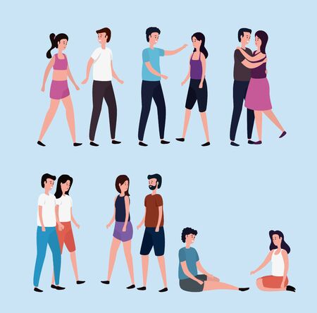 set of women and men couple with casual clothes over blue background, vector illustration Çizim