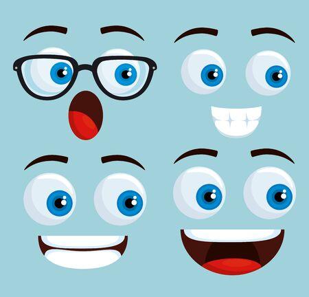 Conjunto de kawaii facess con expresión feliz sobre fondo azul ilustración vectorial