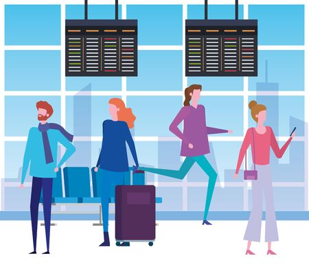 women and man with casual clothes and baggage in the waiting room, vector illustration Stock Illustratie