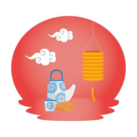 chinese decorative lamp hanging with teapot scene vector illustration design